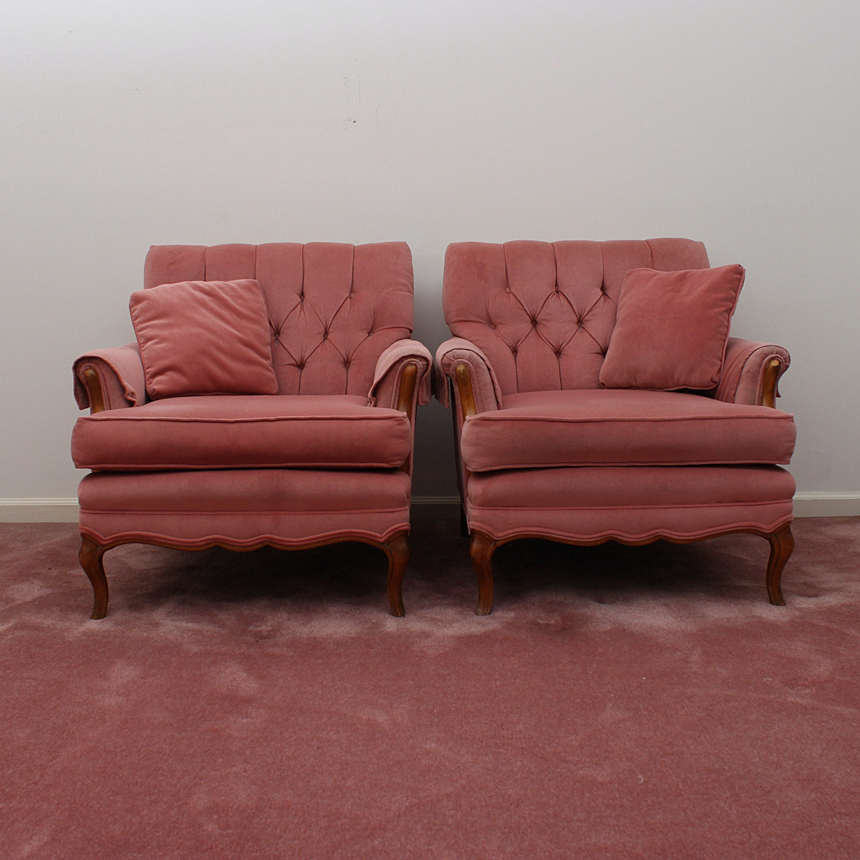 Pair of Pink Button Tufted Arm Chairs by Madden