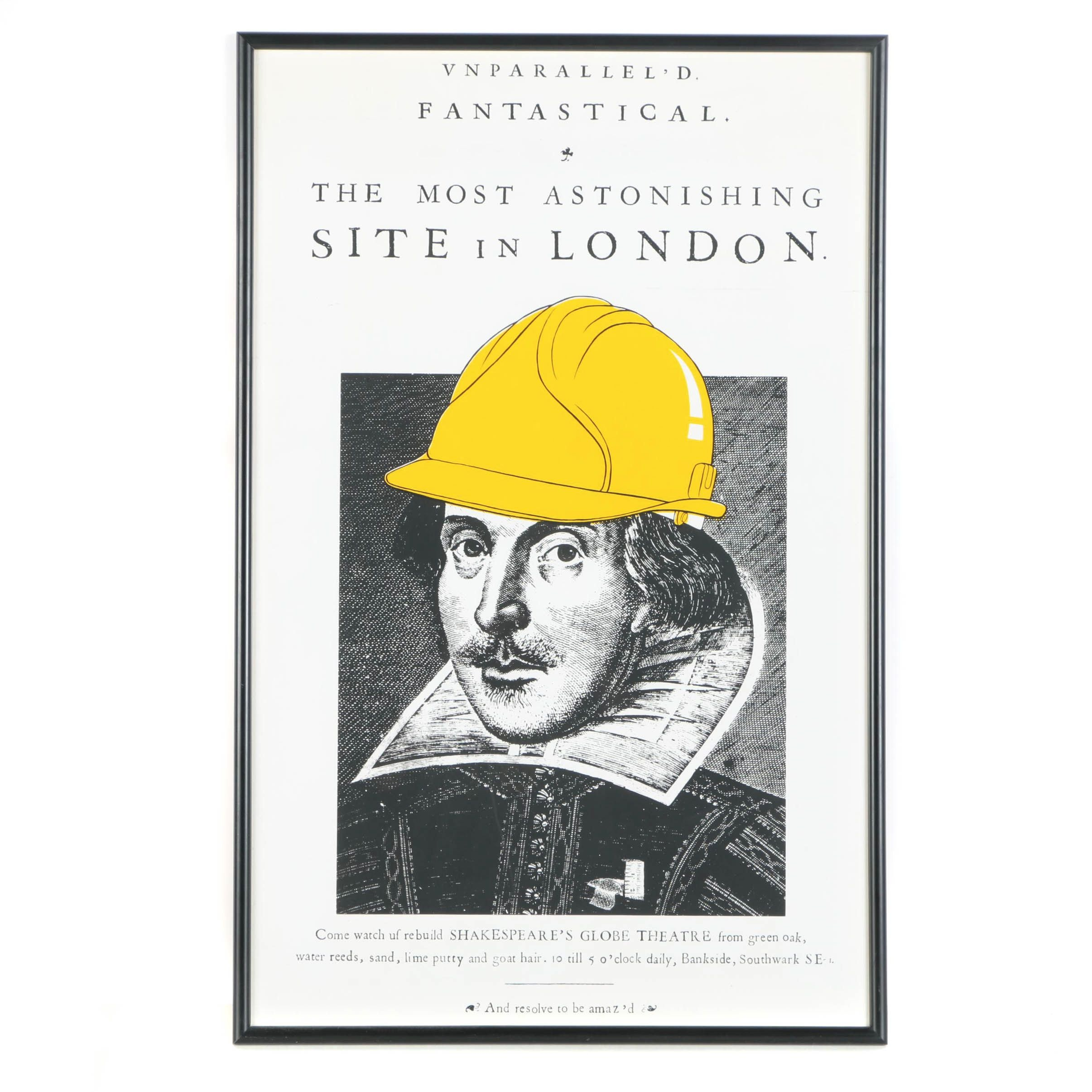 Framed Serigraph Poster for Shakespeare's Globe Theatre Reconstruction