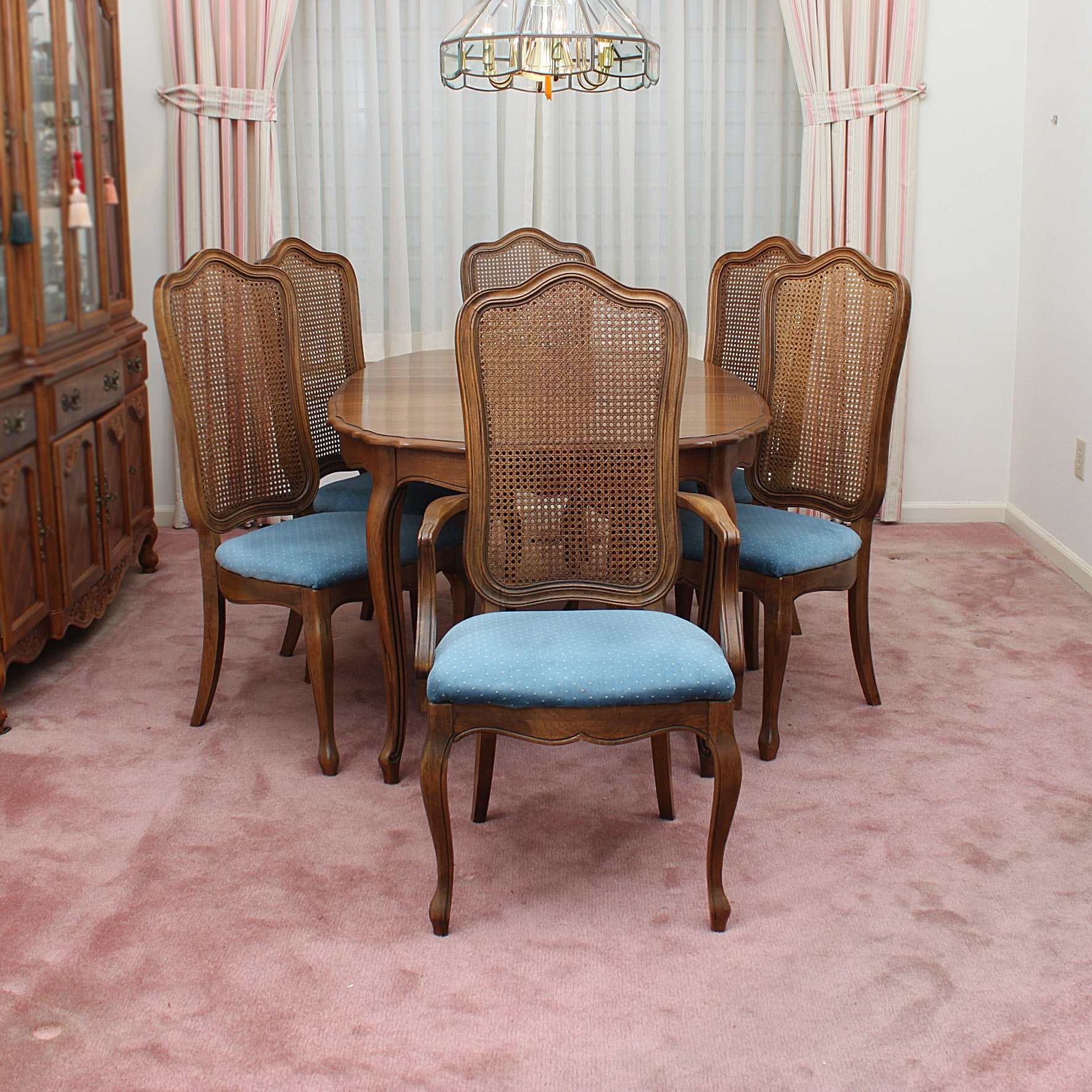 Thomasville Dining Room Table with Cane Back Chairs
