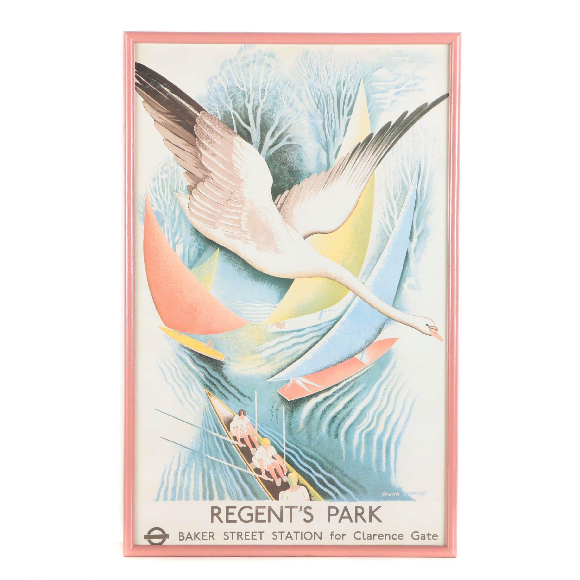 Framed Frank Ormrod Offset Lithograph Poster for Regent's Park in London