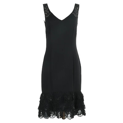 Escada Black Beaded Sleeveless Cocktail Dress