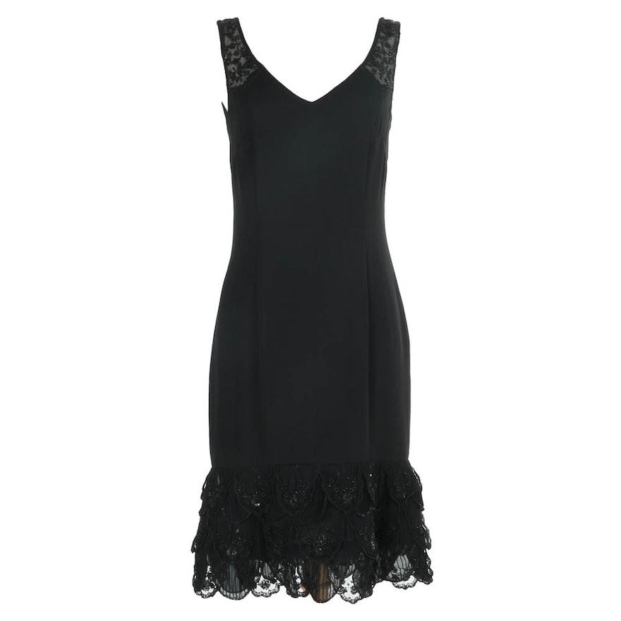 Escada Black Beaded Sleeveless Cocktail Dress