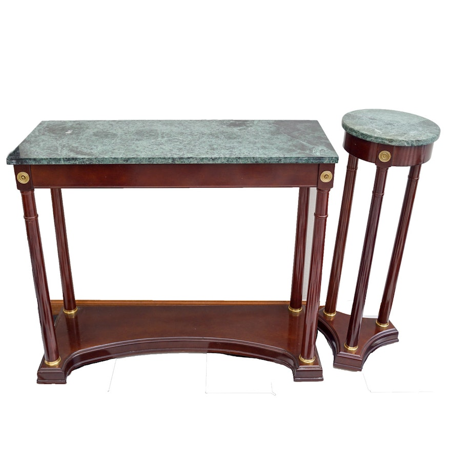 Peachy Pair Of Federal Style Polished Wood And Granite Tables By Bombay Download Free Architecture Designs Pushbritishbridgeorg