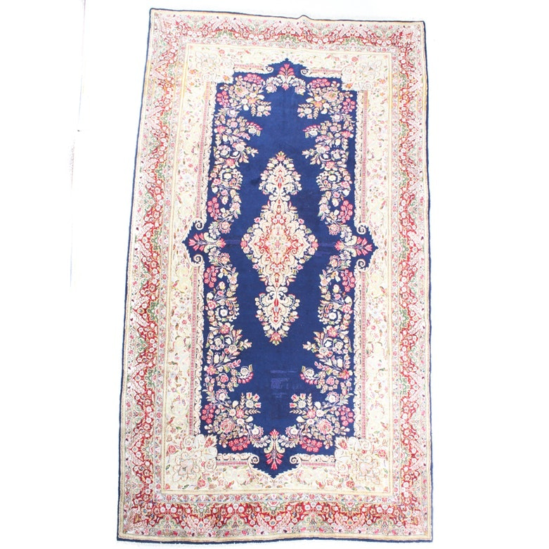 Vintage Hand Knotted Persian Lavar Kirman Area Rug