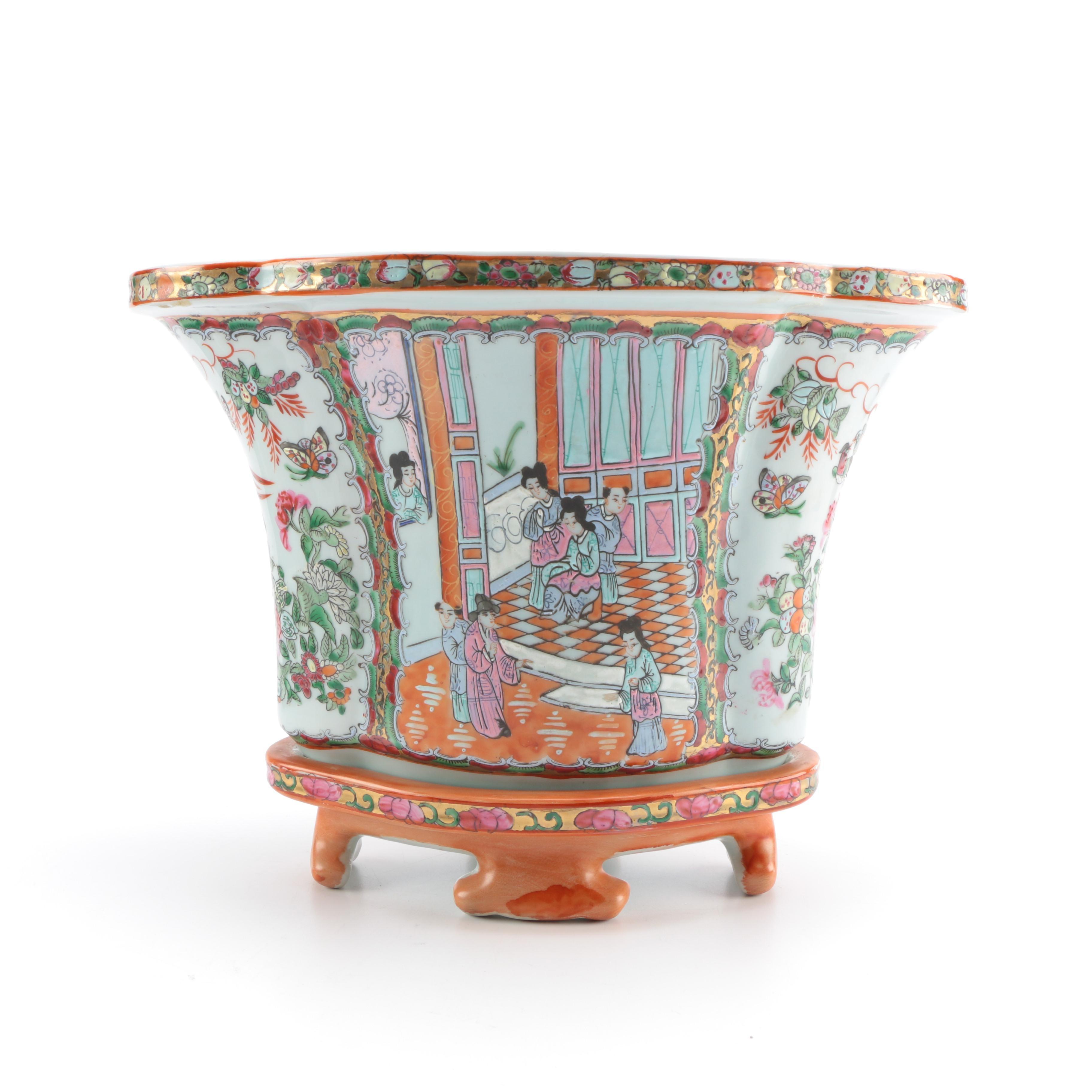 Chinese Rose Medallion Ceramic Planter and Base