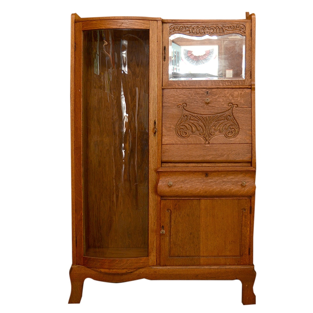 Dark Stained Oak Cabinet with Desk