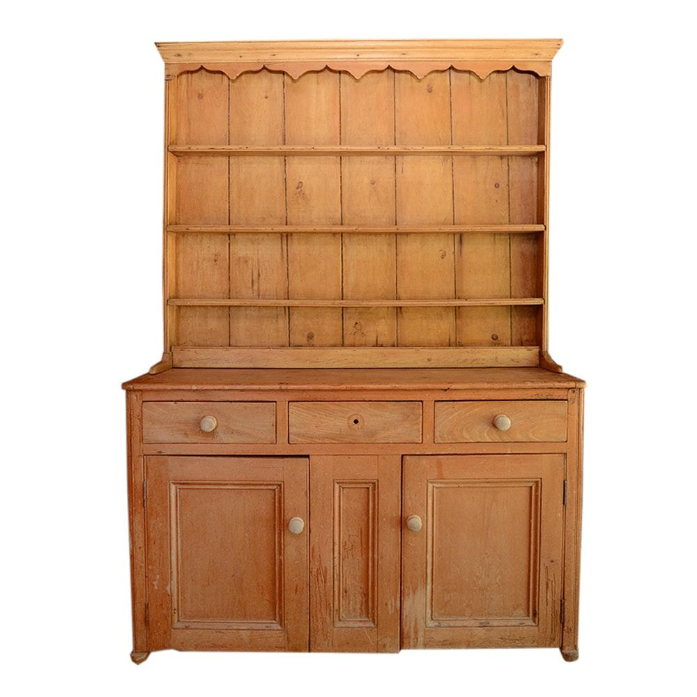 19th Century Pine Stepback Cupboard