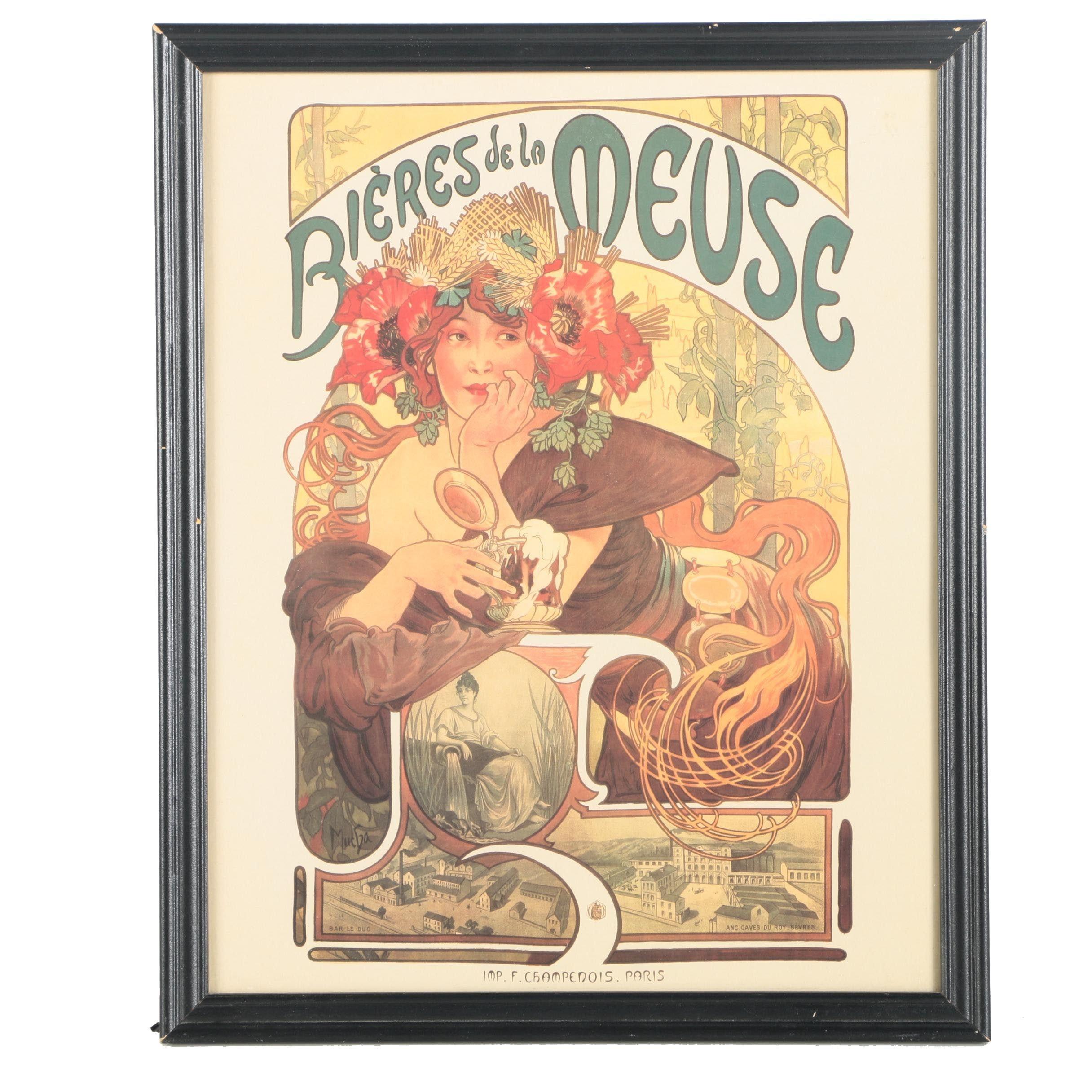 """Offset Lithograph Poster After Alphonse Mucha """"Bières de la Meuse"""""""