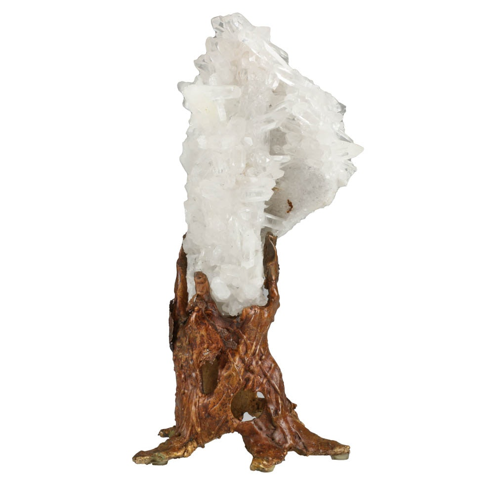 Quartz Crystal Cluster on Bronze Stand