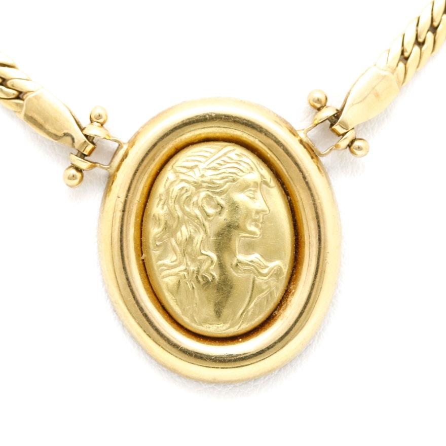 Loto preziosi 18k yellow gold cameo pendant necklace ebth loto preziosi 18k yellow gold cameo pendant necklace aloadofball Images
