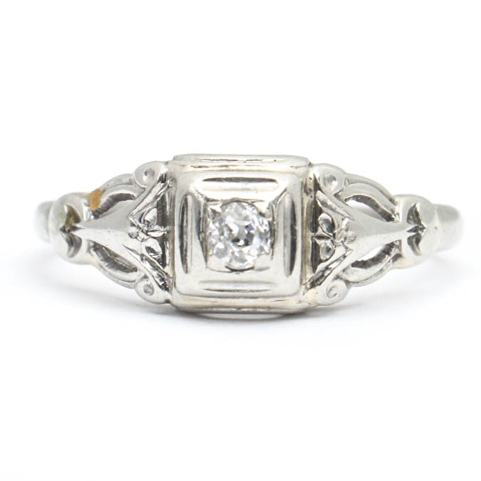 Late Edwardian 18K White Gold and Diamond Ring by Jabel