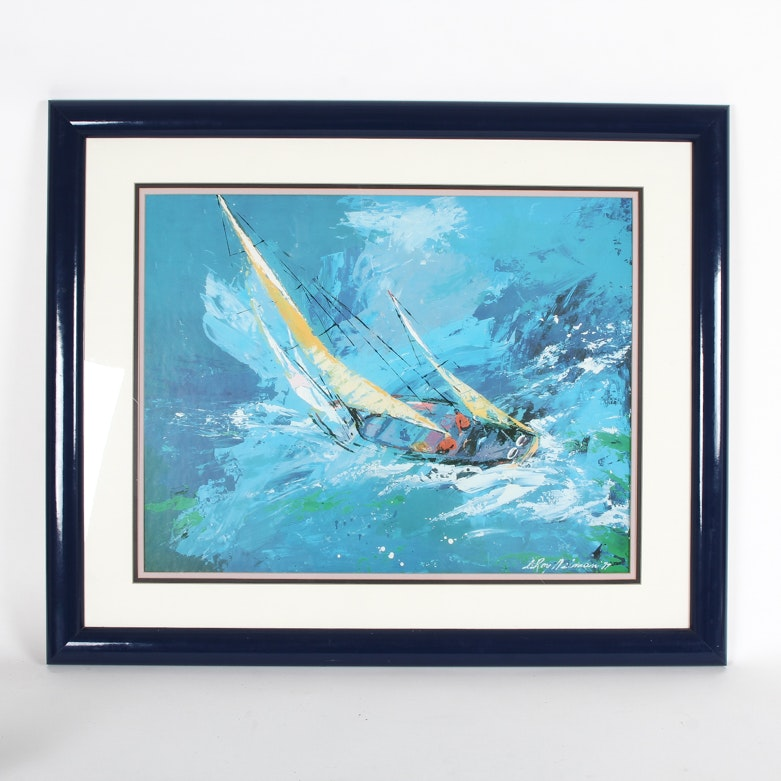 """After LeRoy Neiman Framed Serigraph """"Sailing"""""""