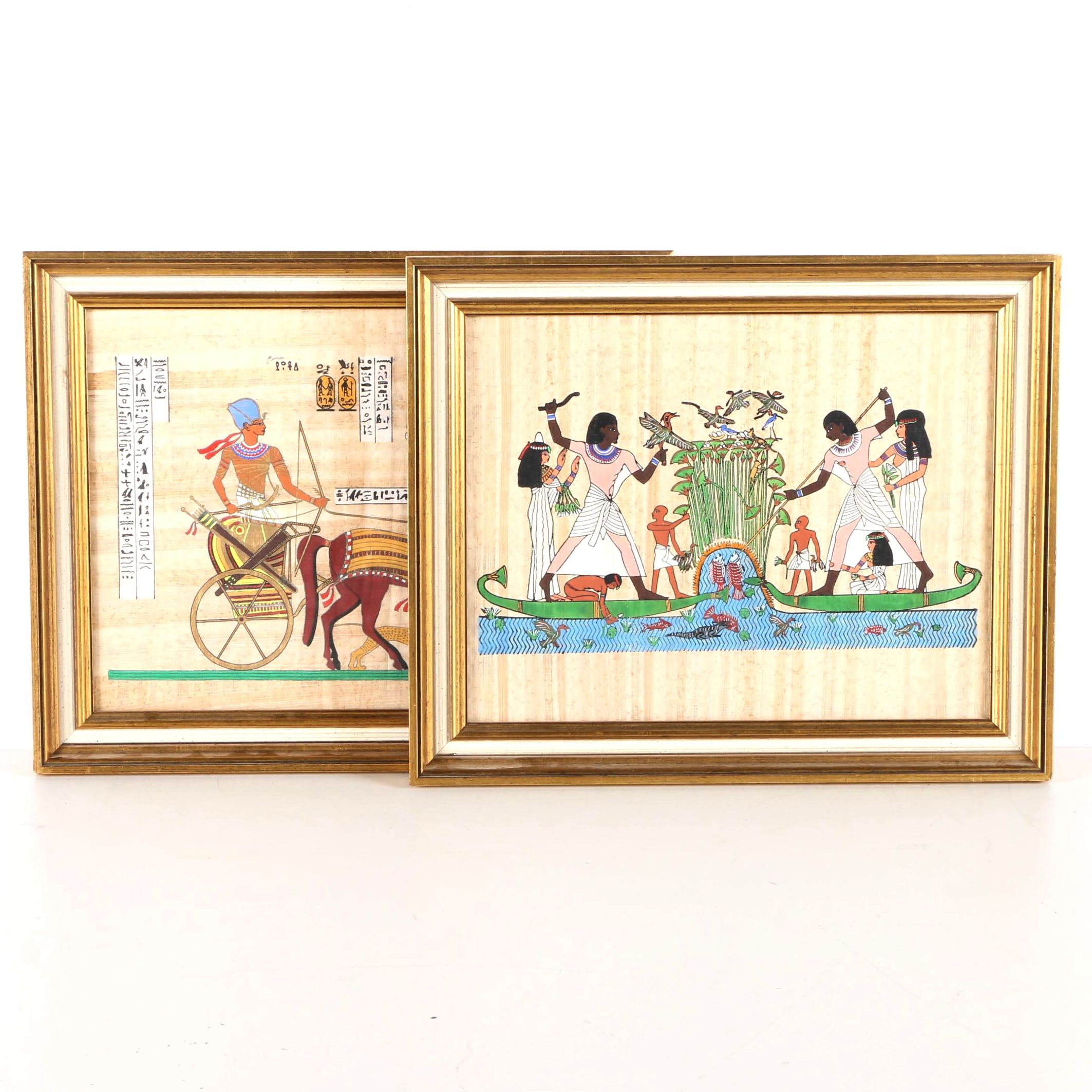 Egyptian Style Gouache on Papyrus Paintings
