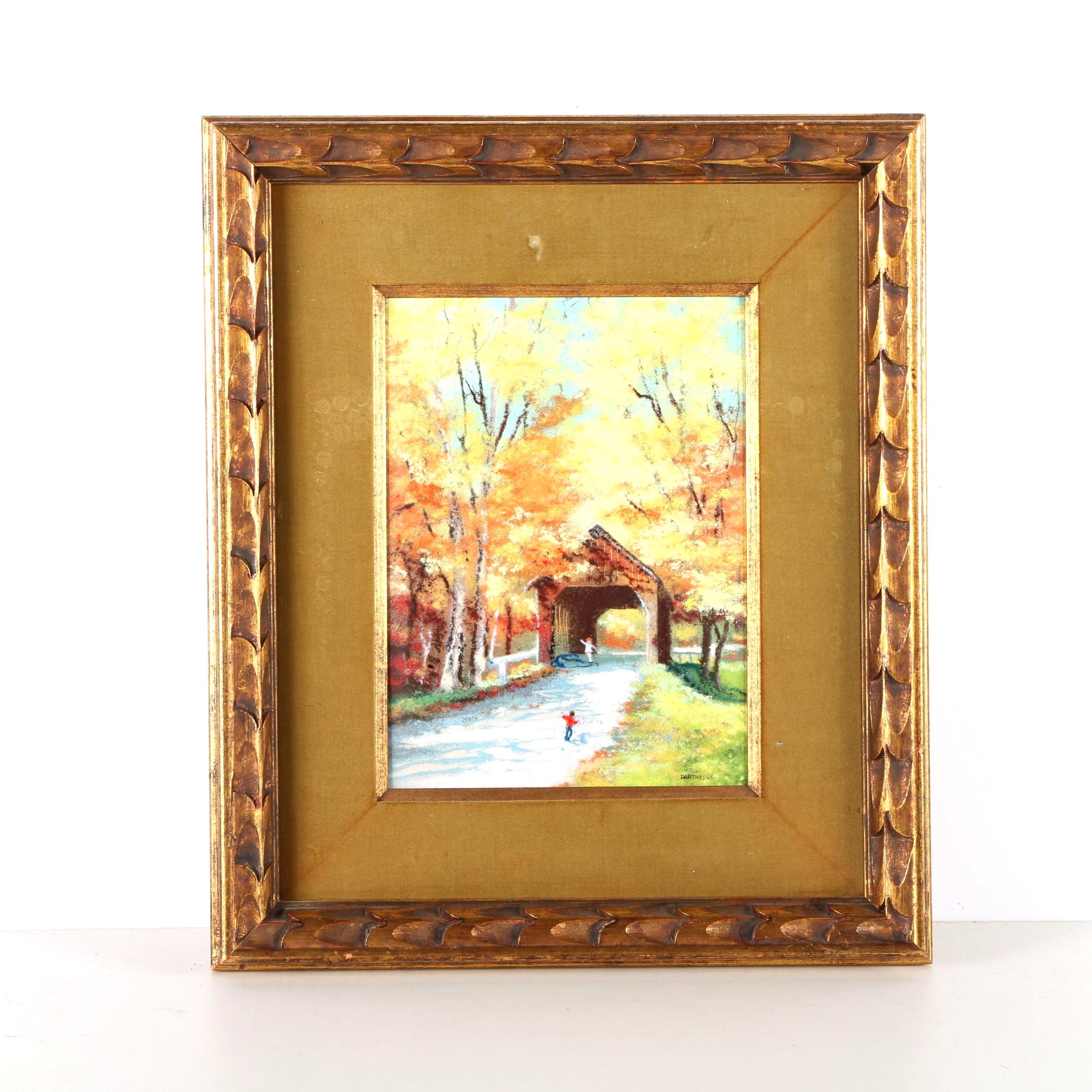 Charles Parthesius Enamel On Copper Painting Covered Bridge And Children