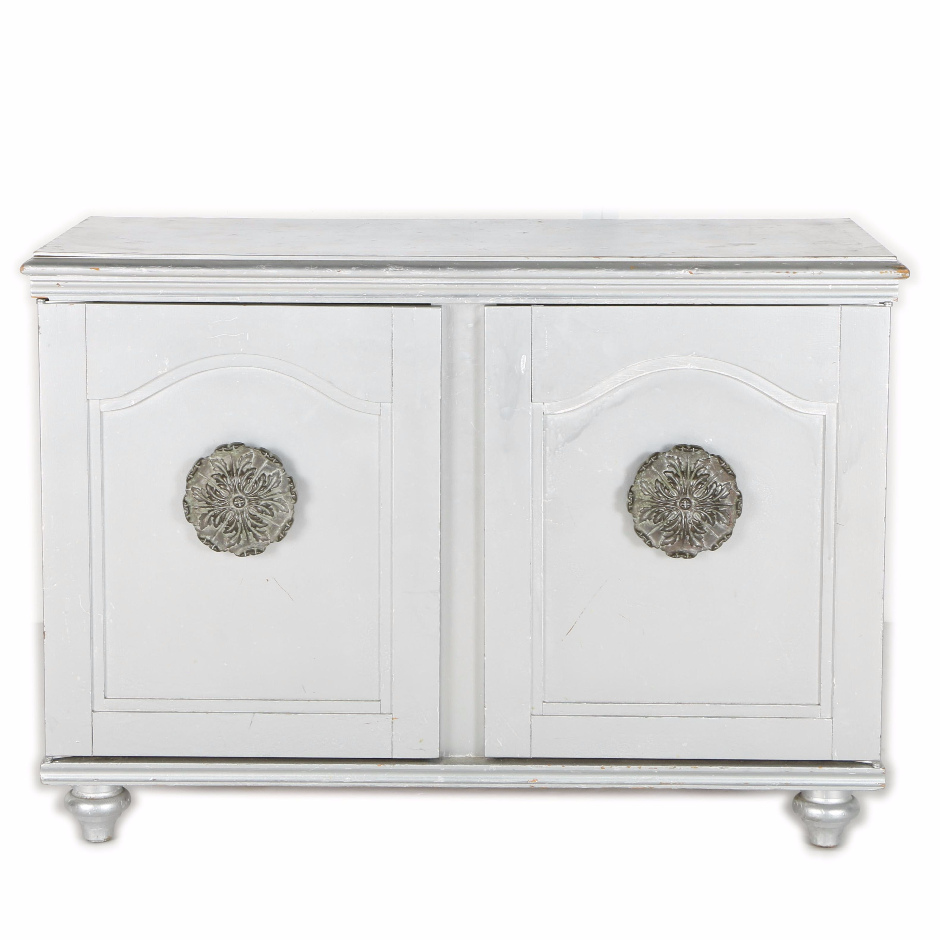 Mid Century Painted Silver Tone Cabinet with carved  Floral Pulls