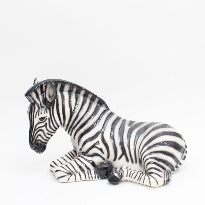 Ceramic Sitting Zebra Figure