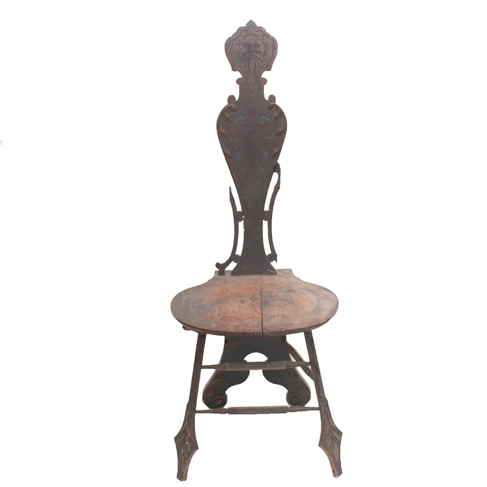 """Antique """"North Wind"""" Face Hall Chair"""