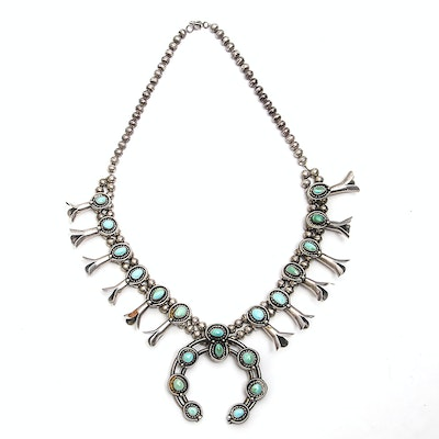 Navajo Style Sterling Silver Turquoise Squash Blossom Necklace