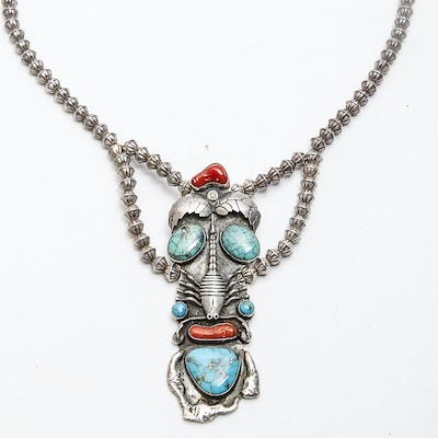 Lee Prince Native American Sterling Turquoise and Coral Necklace