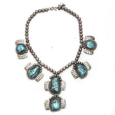 Vintage Native American Style Sterling Silver Turquoise Necklace