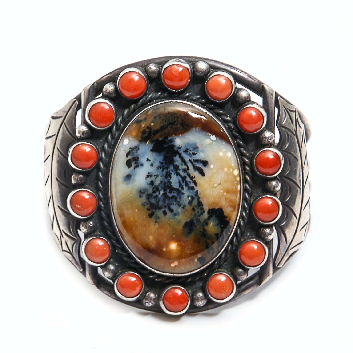 Thompson Platero Sterling Silver Dendritic Agate and Coral Cuff