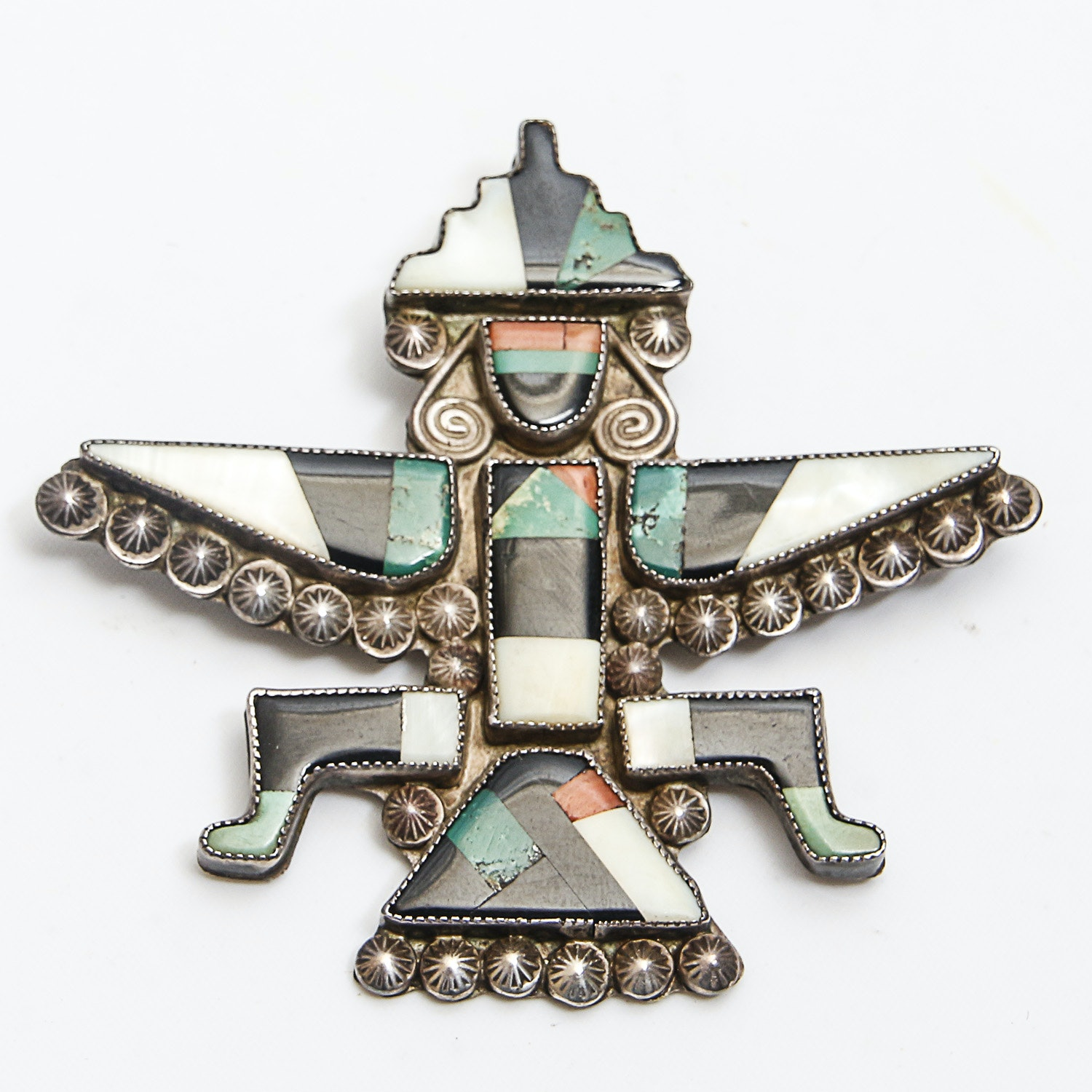 Knife Wing God Mother of Pearl, Onyx, Malachite, Coral and Gaspeite Sterling Brooch