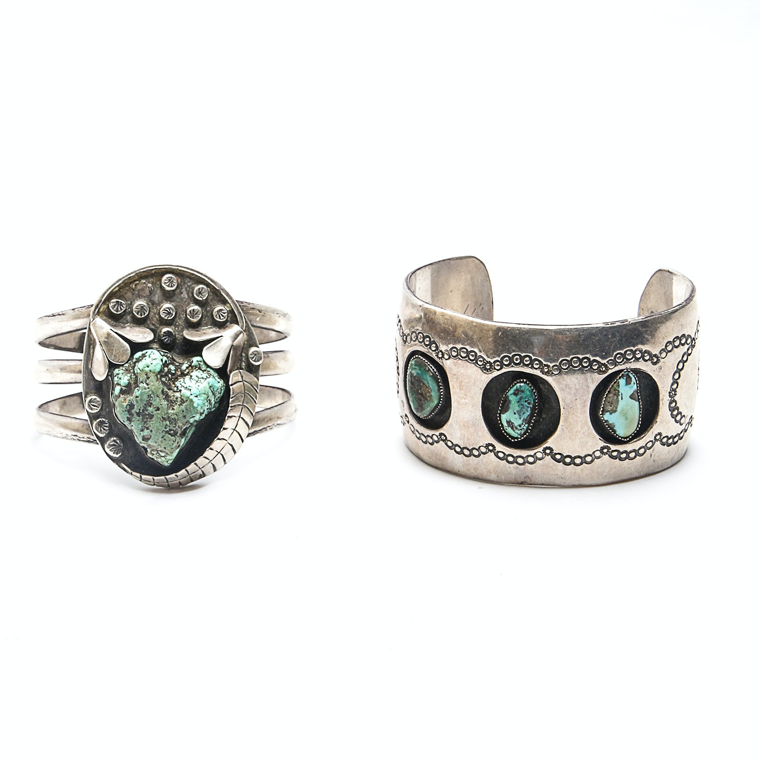 Native American Style Sterling Turquoise Cuff Bracelets