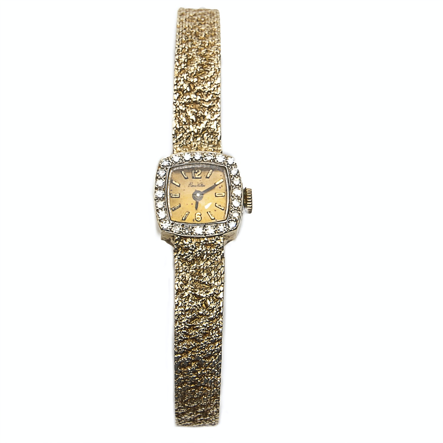 Vintage Pierre Vallee 14K Gold Diamond Pave Watch