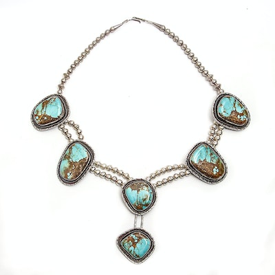 Native American Style Turquoise Sterling Silver Station Necklace