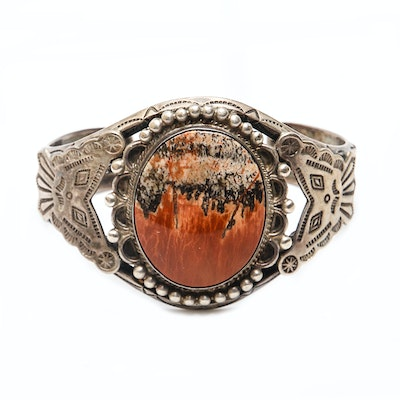 Native American Style Sterling Cuff Bracelet with Large Landscape Agate Cabochon