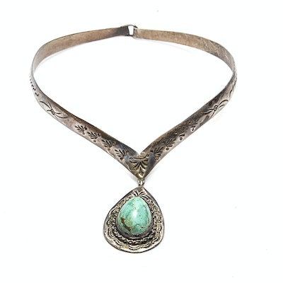 Navajo Style Sterling Silver Turquoise Drop Pendant Necklace