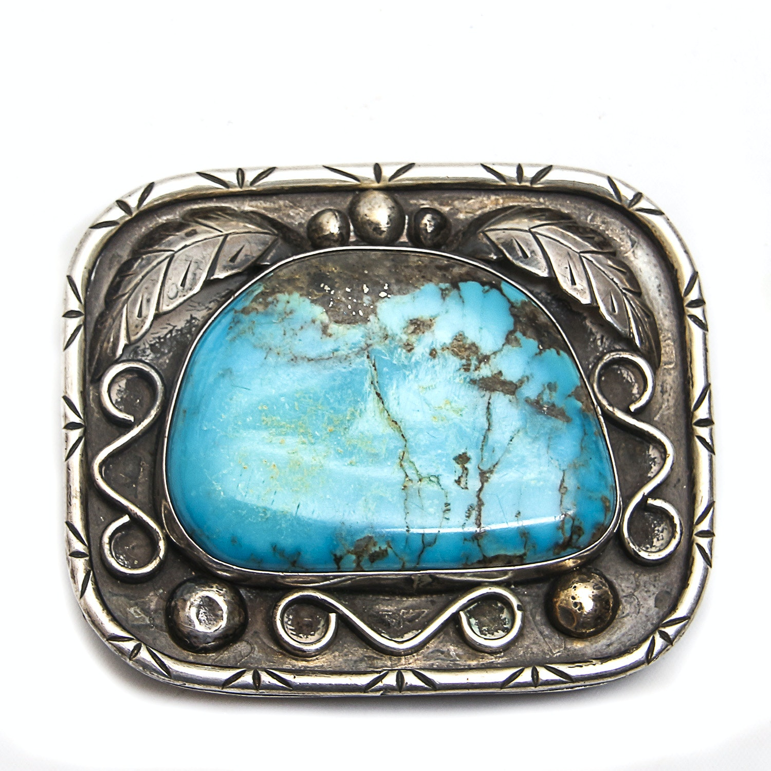 Fannie Platero Turquoise Sterling Silver Navajo Belt Buckle