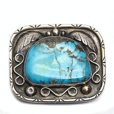 Fannie Platero Turquoise Sterling Silver Navajo Belt Buckle