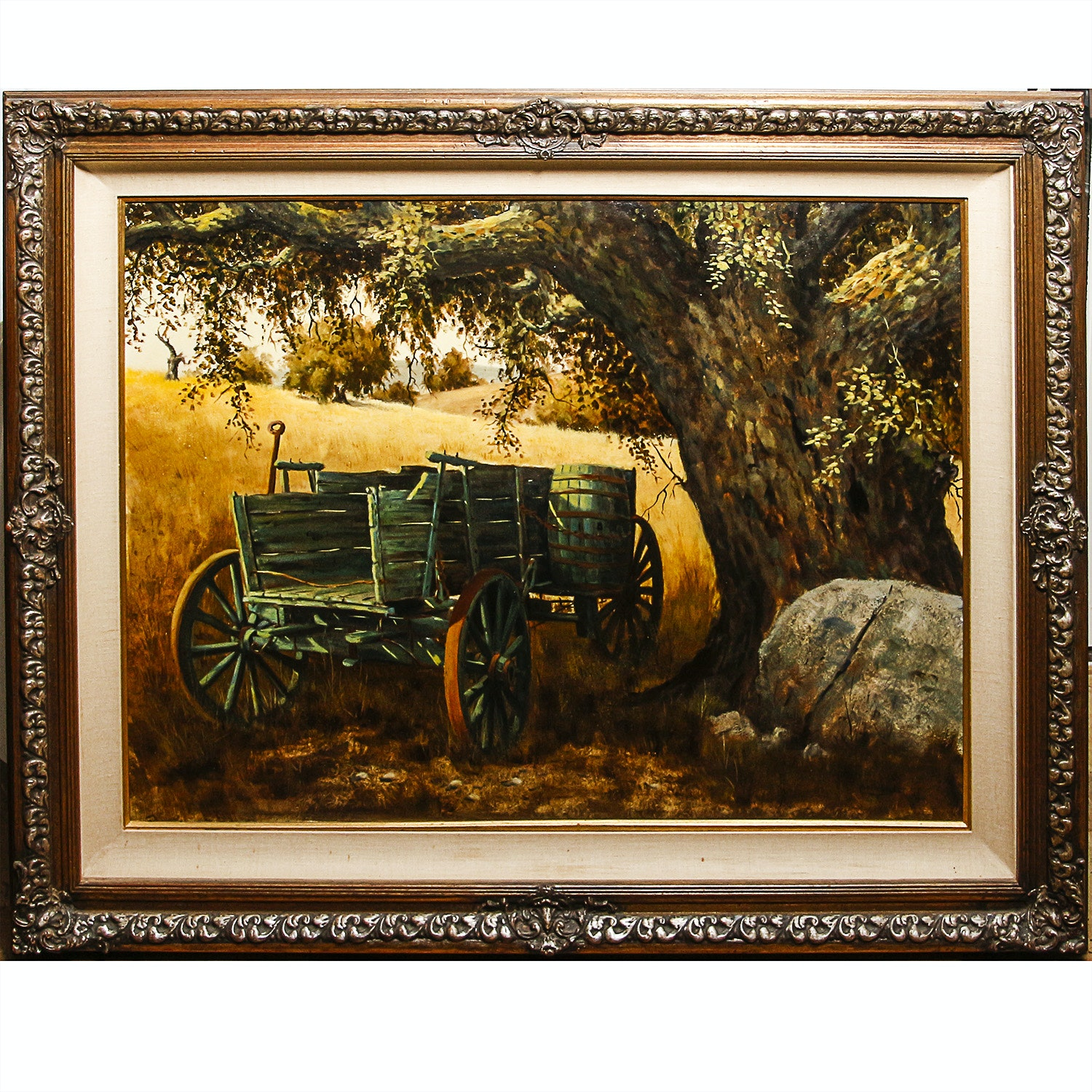 Austin Deuel Oil on Canvas of Wagon in a Field