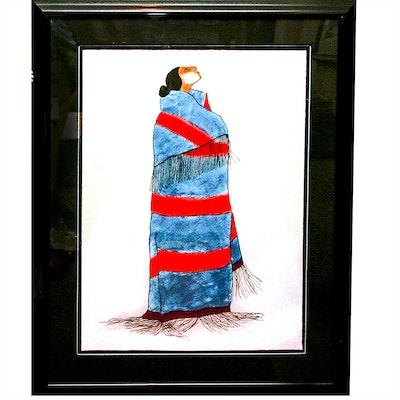 "R.C. Gorman Serigraph ""Carol's Blanket"""