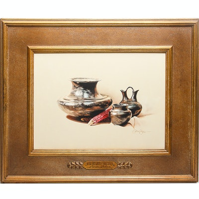 "Patricia Dobson Original Oil on Canvas ""Blackware C. 1891-1930"""