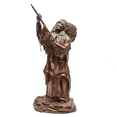 "Sid Burns 1977 Bronze Sculpture ""As Dust Before Him"""