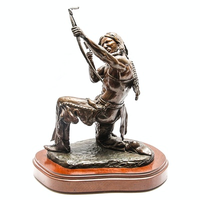 """Sid Burns 1972 Bronze Sculpture """"Last Arrow"""""""