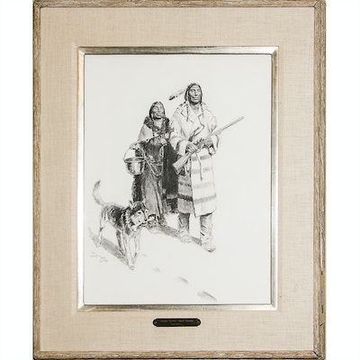"""Tom Lovell Charcoal on Paper """"Trade Goods - Fort Union"""""""