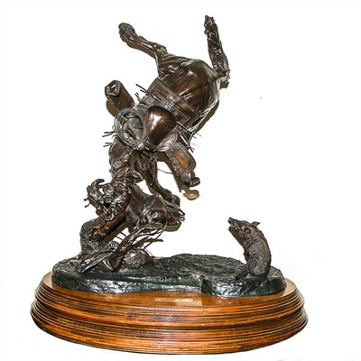 """1974 Sid Burns Bronze Sculpture """"Spooked"""""""
