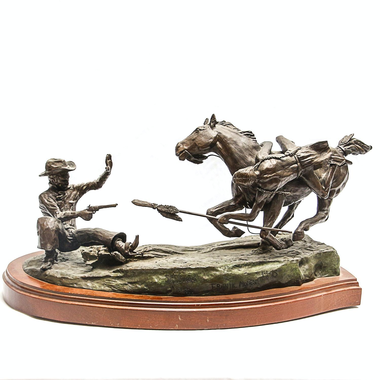 """Sid Burns 1969 Bronze Sculpture """"Frantic Moment"""""""