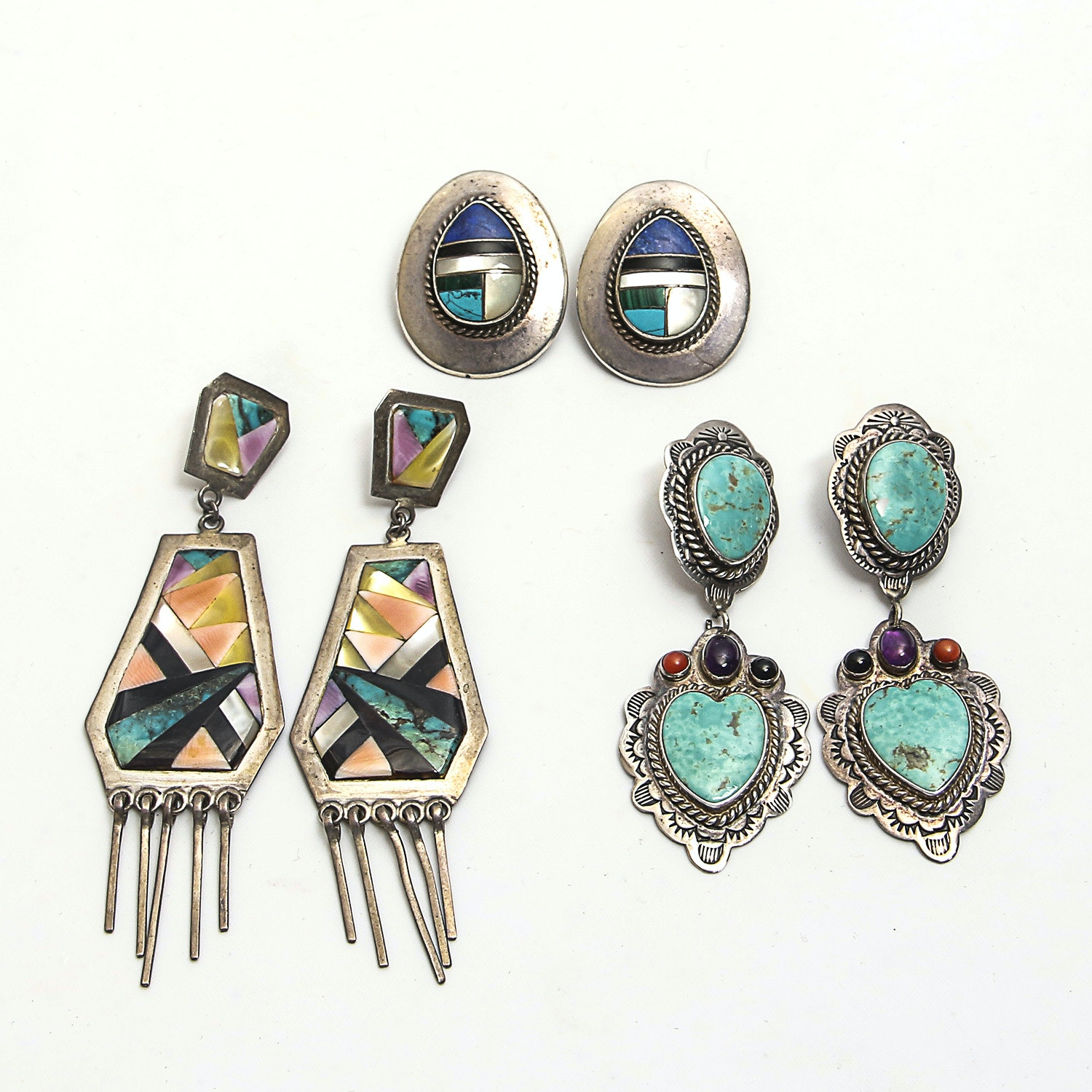 Three Pairs of Sterling Earrings with Amethyst, Shell, Onyx, Turquoise, Howlite, Malachite and Lapis Lazuli Inlays
