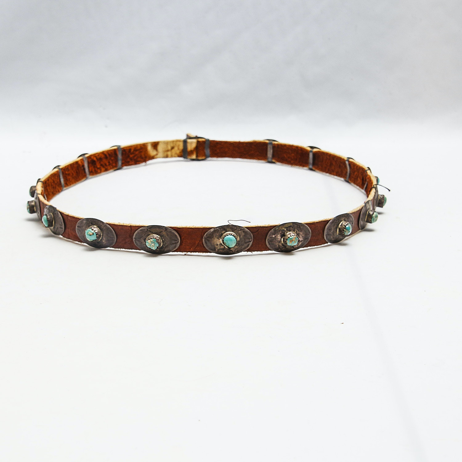 Vintage Leather Hat Band with 800 Silver and Howlite Inlay