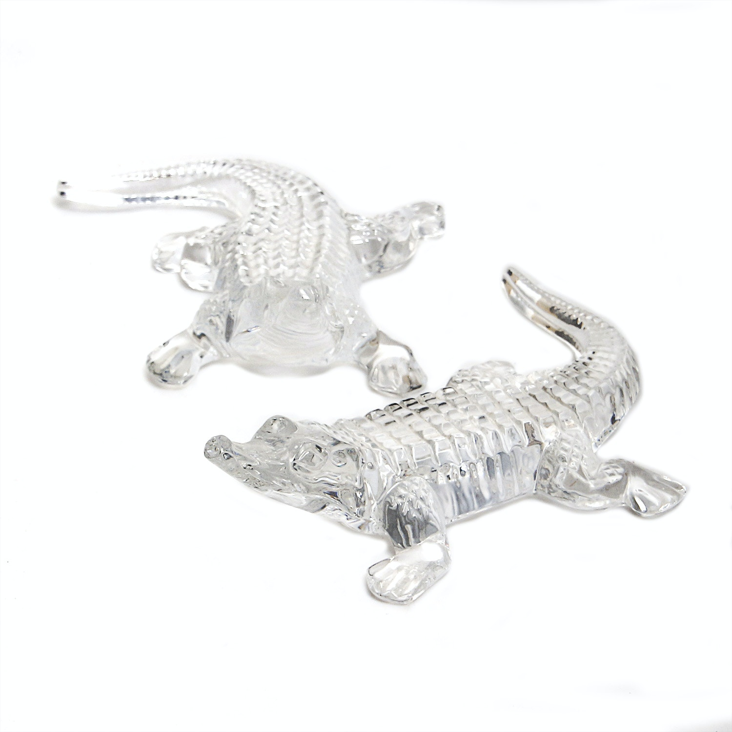 Two Waterford Crystal Alligators