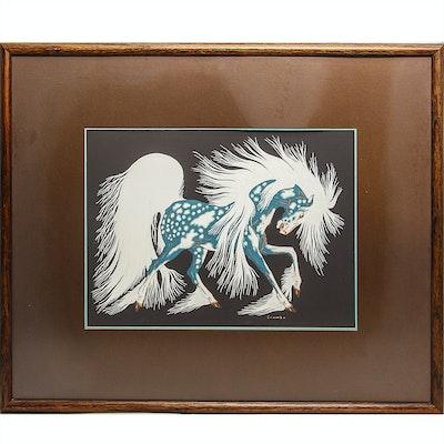 """Woody Crumbo Serigraph """"Spirit Horse"""""""