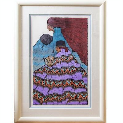 """Amado Peña Jr. Limited Edition Serigraph """"Artesanos Elegantes"""""""