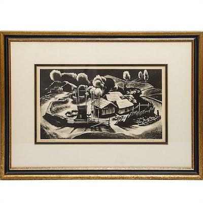 """Lynd Ward Original Woodblock Print """"Corral: Tres Cumbres"""""""