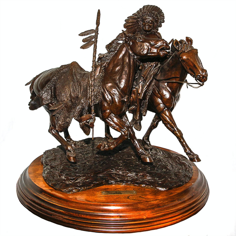 """Sid Burns 1976 Bronze Sculpture """"War Pony"""""""