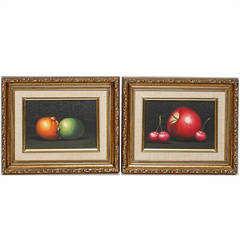 Pair of Original Oil on Canvas Fruit Studies