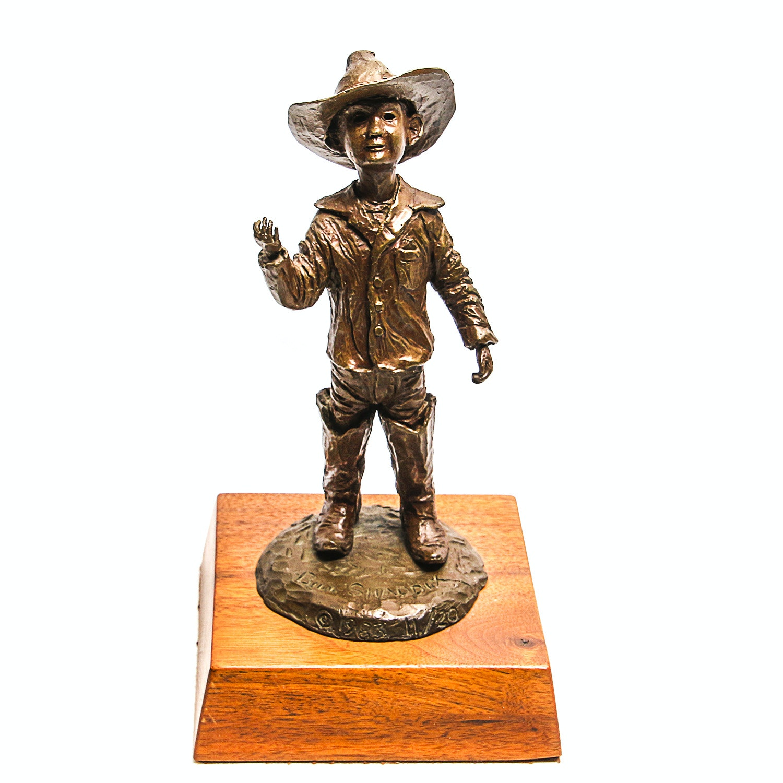 Bill Shaddix 1983 Western Bronze Sculpture of a Boy